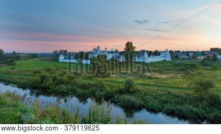 Panorama Of Convent Of The Intercession Or Pokrovsky Monastery In Suzdal, Russia.  Sunset View