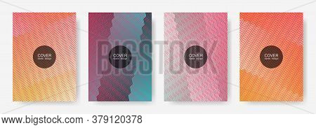 Zig Zag Lines Halftone Banner Templates Set, Gradient Stripes Texture Vector Backgrounds For   Catal