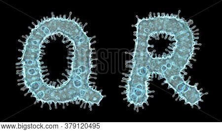 Set of letters made of virus isolated on black background. Capital letter Q, R. 3d rendering. Covid font 3d