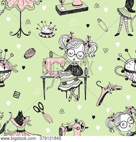 Seamless Pattern With Cute Little Dressmaker And Sewing Accessories. Vector
