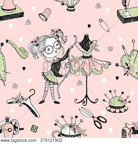 Seamless Pattern With Cute Little Dressmaker With Sartorial Mannequins And Sewing Accessories. Vecto