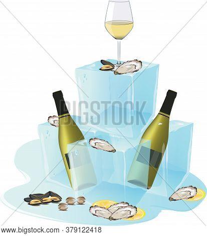 Ice Cube With Bottles Of White Wine Shellfish Sushi