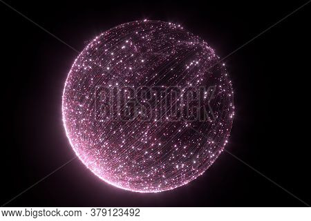Glowing Pink Particles With Trails, 3D Rendering.