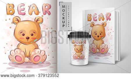 Teddy Yellow Bear Poster And Merchandising. Vector Eps 10