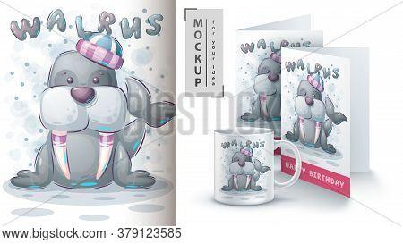Winter Walrus Poster And Merchandising. Vector Eps 10