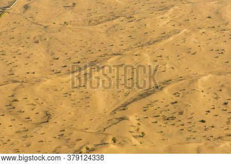 November 2019. Dubai Uae. Aerial View Of The Dubai Desert In Dubai Uae