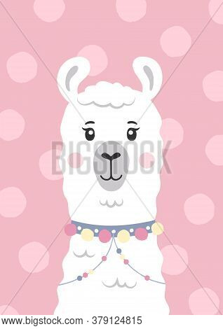 Cute Lama, Alpaca Face. Cartoon Character. Poster For Baby Room. Childish Print For Nursery. Design