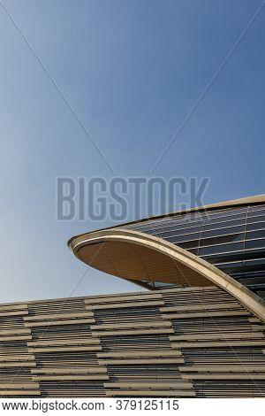 November 2019. Dubai Uae. A Futureistic Metro Building In Dubai Uae