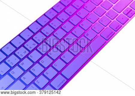 Close Up View Of A Modern Laptop Computer Keyboard Keys. Soft Lightning. Computer Keyboard Close Up
