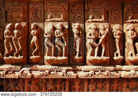 wall stone carvings in Indian Temple Sahastra Bahu (Sas-Bahu)  at Nagda, Udaipur, Rajasthan, India.