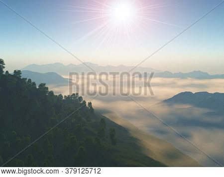 3D render of a mountainous landscape with low lying clouds