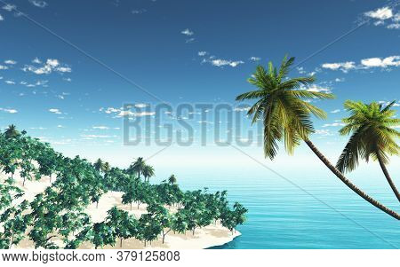 3D render of a tropical island landscape with palm trees