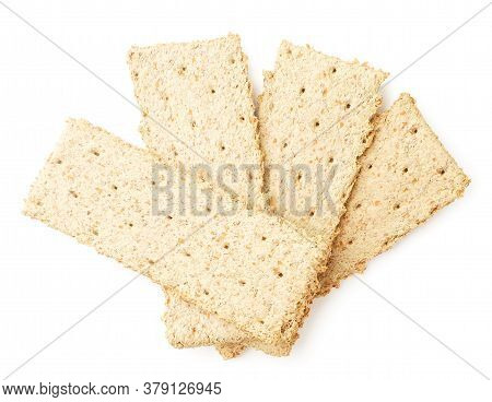 Crispy Crisps On White Background, Isolated. The View From Top