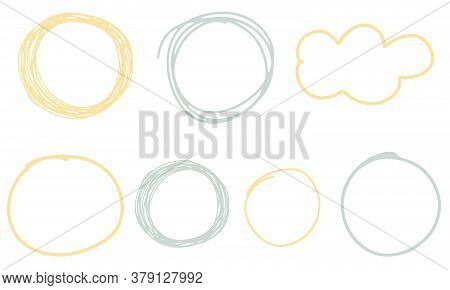 Hand Drawn Scribble Circles. Vector Frames, Clouds And Bubbles Collection