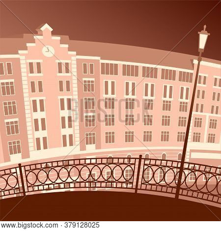 An Ancient Night City With A Beautiful Building. Bridge With Patterned Railings And Street Lamp. Vec