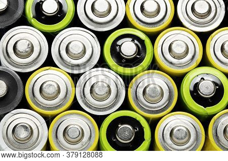 Top View Of Colorful Used Batteries, Aa Size