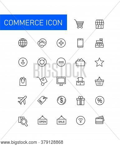 Collection Of Vector Illustrations Of Commerce Icons. Suitable For Design Elements Of Online Trade A