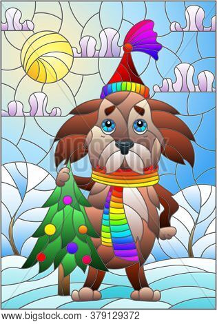 Illustration In Stained Glass Style On The Theme Of Winter Holidays, Cute Cartoon Dog On The Backgro