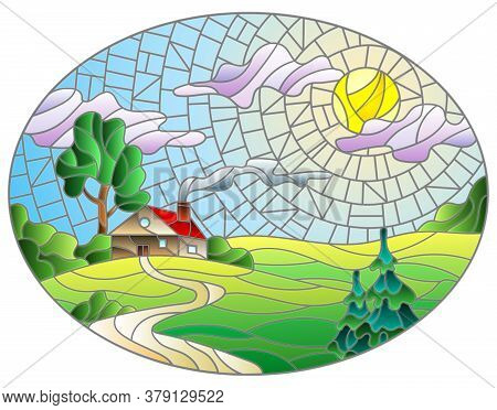 Illustration In Stained Glass Style Landscape With A Lonely House Amid Field,sun And Sky, Oval Image