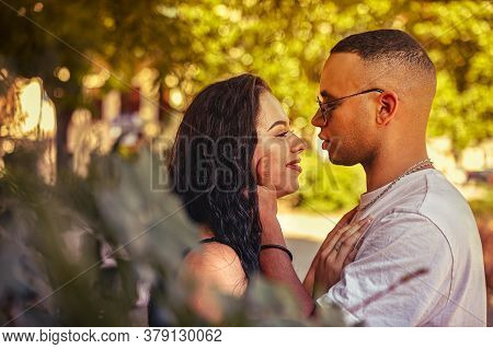 Love Couple In Nature Close Up