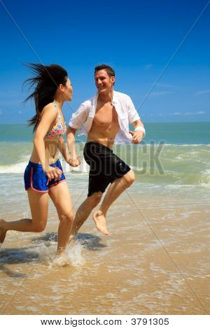 Running On A Paradise Beach