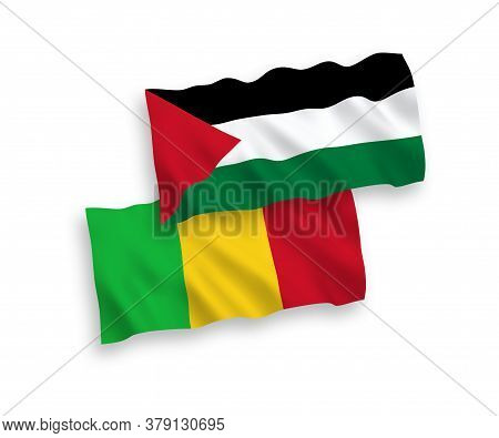 National Fabric Wave Flags Of Mali And Palestine Isolated On White Background. 1 To 2 Proportion. 3d