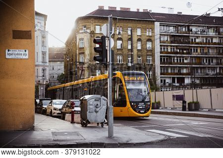 Budapest, Hungary - February 14, 2017: Tram And Cars Near The Margaret Bridge, Margit Hid Above Danu