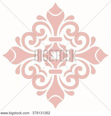 Oriental Vector Pattern With Pink Arabesques And Floral Elements. Traditional Classic Ornament With