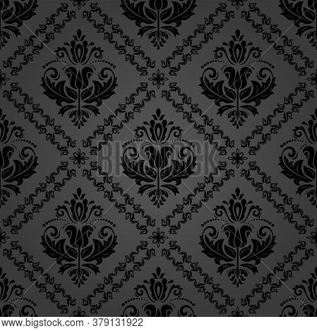 Classic Seamless Vector Black Pattern. Damask Orient Gray Ornament. Classic Vintage Background. Orie