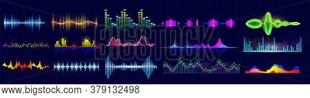 Sound Wave Set. Isolated Flat Audio Sound Waves. Abstract Pulse Frequency Waveform Design Collection