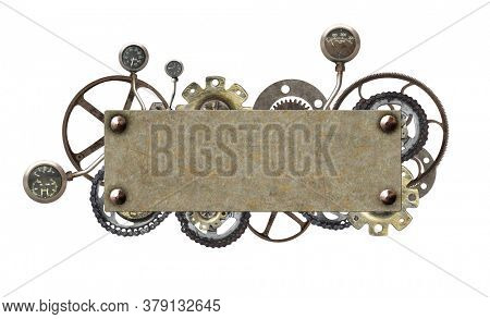 Horizontal metallic frame with vintage machine gears and retro cogwheel. Isolated on white background. Mock up template. Copy space for text. Can be used for steampunk and mechanical design