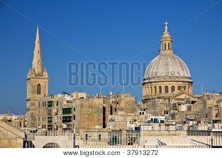 Panoramic View To Valletta And St. Pauls Cathedral And Charmelite Church, Malta