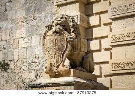 Sculpture Of Lion With Emblem, Mdina, Malta