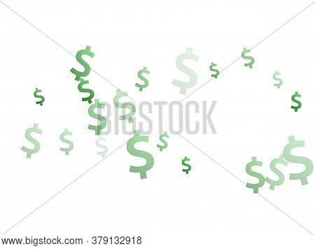 Green Dollar Symbols Flying Currency Vector Illustration. Commerce Backdrop. Currency Token Dollar M