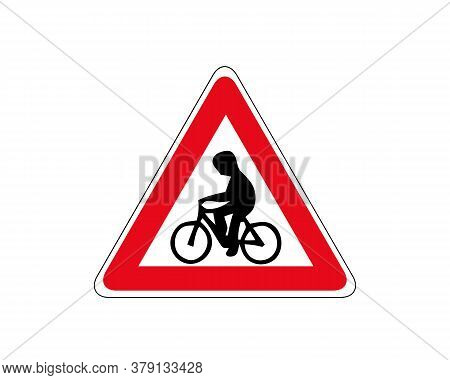 Vector Icon Road Sign Cyclist In. Vector Illustration.