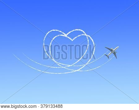 Aircraft draw a heart in the clear blue sky. Flight route of aircraft in shape of a heart. Love concept for traveling the world. Copy space for text