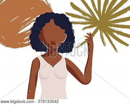 Beautiful African American Young Woman With Tropical Palm Leave. Abstract Vector Card. Fashion Femal