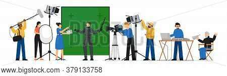 Movie Production Scene. Isolated Film Production People Crew Making Movie. Film Director Man, Actor