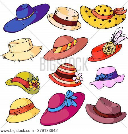 Woman Hat Fashion Set. Isolated Cartoon Summer Female Hats With Brims Ribbons Icon Collection. Woman