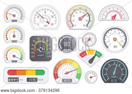 Speedometer Icon. Vector Car Speed Dashboard Panel And Speed-up Power Measurement Equipment Differen