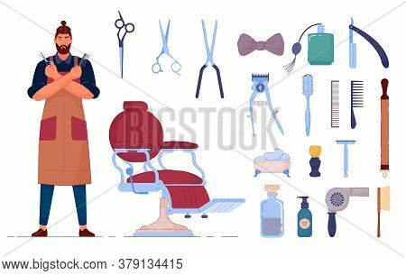 Barber Accessory. Vector Barbershop Accessory And Supply Isolated Set On White Background. Man Barbe
