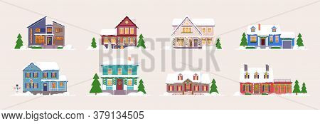 Winter House. Snow-covered Decorated Building Icon Set. Home Exterior Design Isolated On White Backg