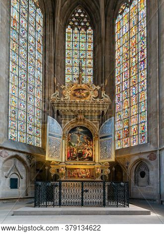 Interior View Of The Altar In St. Dionys Church In Esslingen