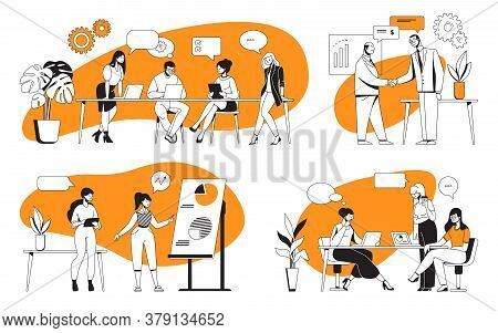 Business Discussion. Cartoon Office Characters Meeting And Working On Presentation. Vector Illustrat