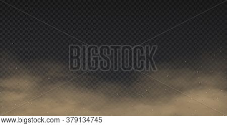 Realistic Dust. Smoke Effect And 3d Mud Powder Pollution, Sand Storm Template Isolated On Transparen