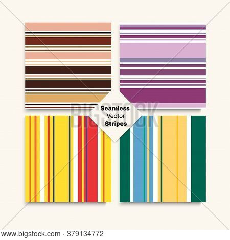 Sailor Stripes Seamless Design Set. Winter Autumn Elegant Fashion Fabric. Vintage Lines Endless Patt