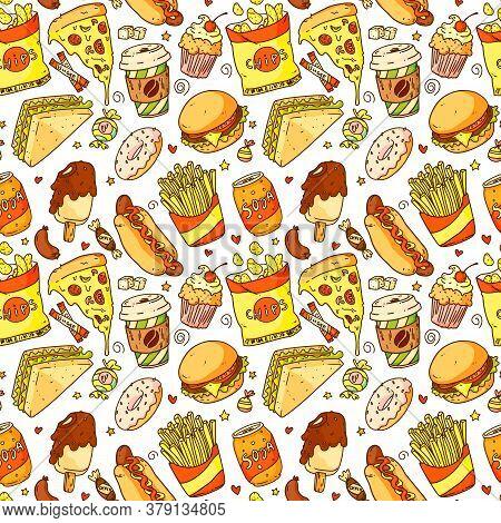 Fast Food Pattern. Seamless Background Pattern With Cartoon Pizza, Hamburger, Hot Dog, Coffee, Frenc