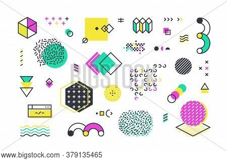 Memphis Shapes. Abstract Geometric Line Elements With Retro Graphic Shapes For Web Design Advertisem