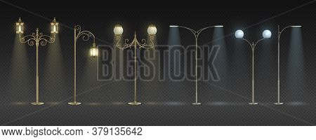 City Night Lights. Realistic Modern And Vintage Streetlights With Warm And White Glowing, Row Of Pol