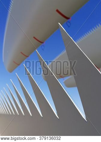 Rotor Blades Of A Wind Turbine On A Storage Yard Are Ready For Shipment